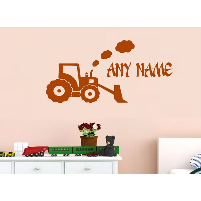 Poomoo wall decals personalised farm tractor vinyl wall sticker any name bedroom kids art decal 60cmx120cm