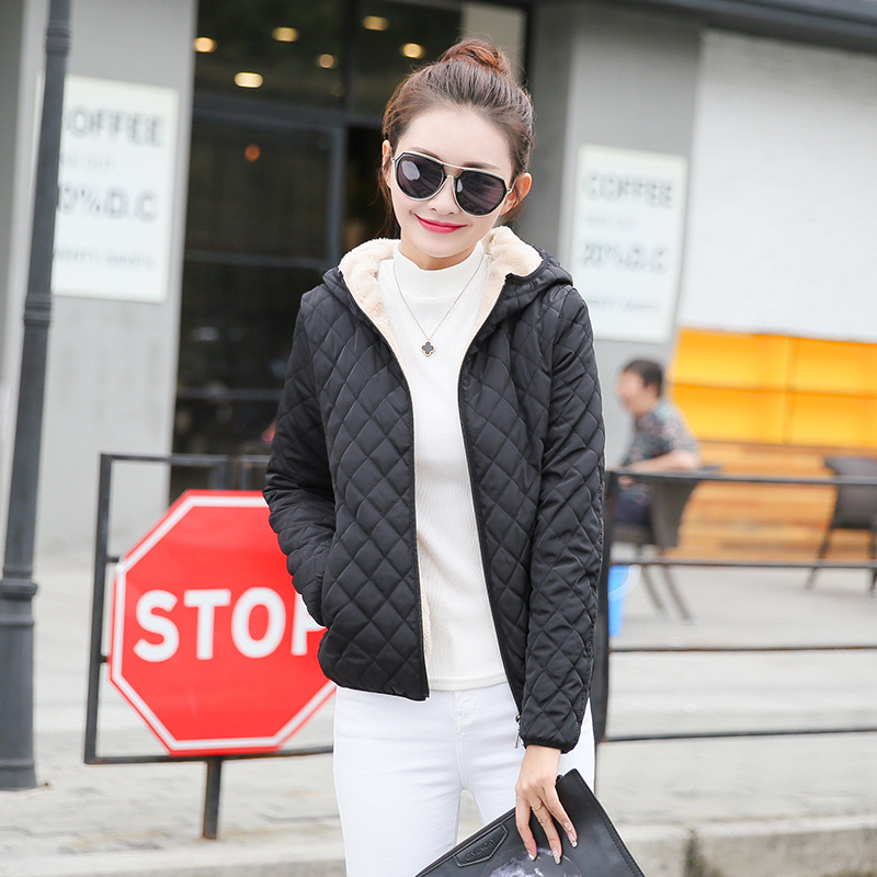 Danjeaner Winter Coat Women Solid Slim Hooded Basic Jackets Female Plus Size Thick Lamb Cotton Jackets Windbreaker Streetwear  1