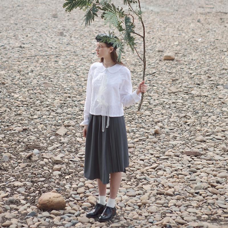 LYNETTE'S CHINOISERIE Spring Autumn Original Design Women French Maiden Asymmetrical Pleated Skirts