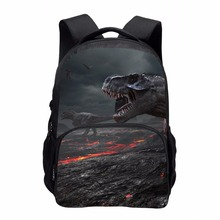 цена на Cool Dinosaur Print School Backpacks for Children Men 3D Large Animal Casual Travel Laptop Backbag Teenager Double shoulder bag