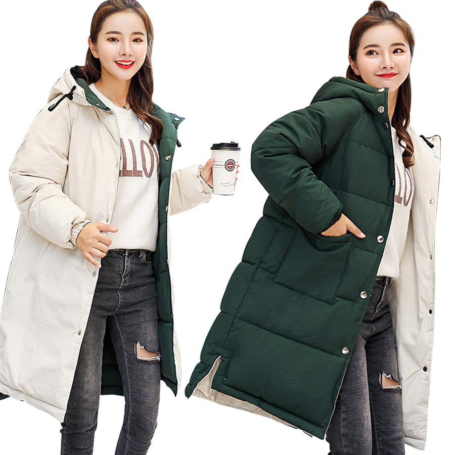 MANDADI hiver veste femmes 2018 coton rembourré épais chaud à capuche long manteau femmes vêtement d'extérieur parka femme les deux côtés peuvent être porter