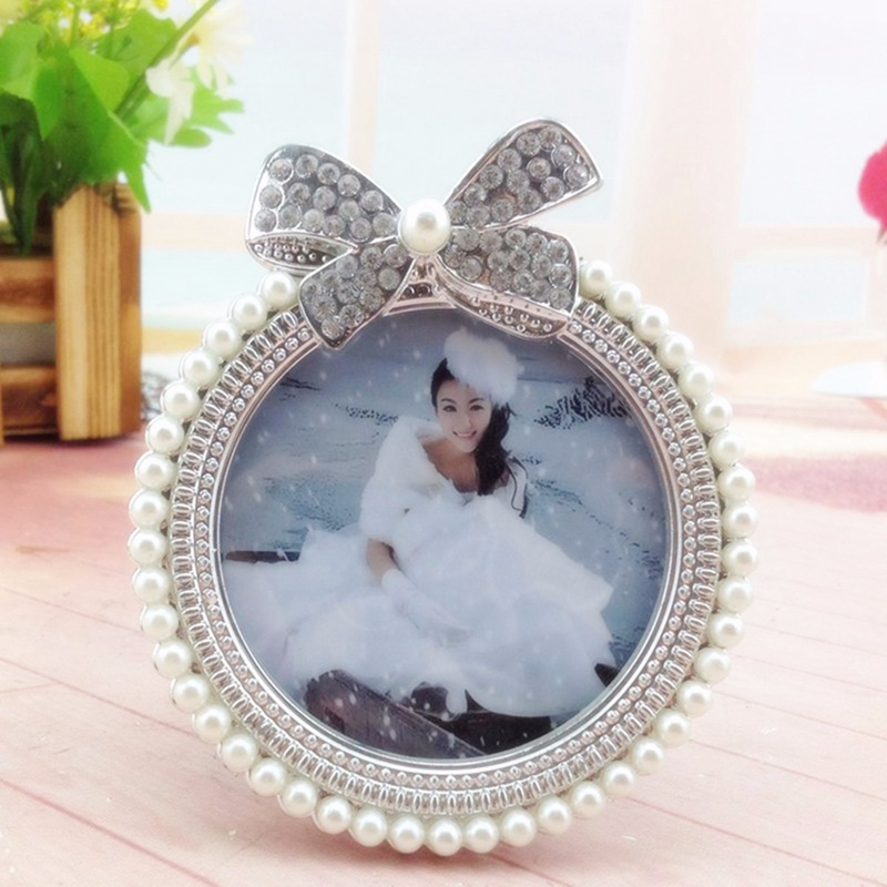 beautiful design 3 inch photo picture frame crystal pearl diamond frame bowknot wedding swing set for