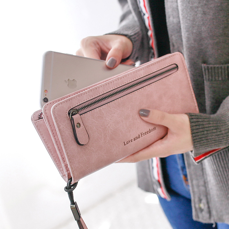 Long Wallets Purse Coin-Pocket Frosted Retro Female Korean-Version Double-Fold Large-Capacity