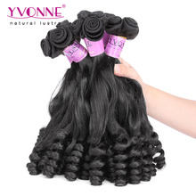 New Arrival Tip Curly Virgin Hair,100% Human Hair Weave,2Pcs/lot Remy Fumi Hair,Aliexpress Yvonne Hair,Natural Color 1B