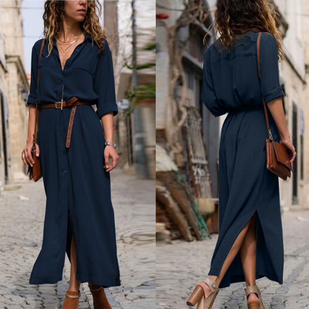 Women Solid Long Sleeve Blouse  Casual Shirt Skirt V-Neck Button Split Hem Blouse Sexy Party Dress Autumn Female Shirt Skirt