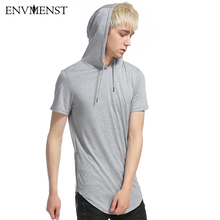 Men'S T Shirt long section 2017 New Summer Fashion Hooded Sling Long-Sleeved Tees Male New compression T-Shirt Slim Male Top XXL