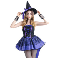 MILLYN Female Witch Cosplay Disfraces Halloween Costume Sexy Purple Witch Cosplay Fantasy Exotic Clothes Hot Sale