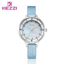 KEZZI Marque Mère Perle Femmes Montres Mode Casual La Vie Imperméable À L'eau En Relief Bracelet En Cuir Quartz Montre-Bracelet Robe Horloge