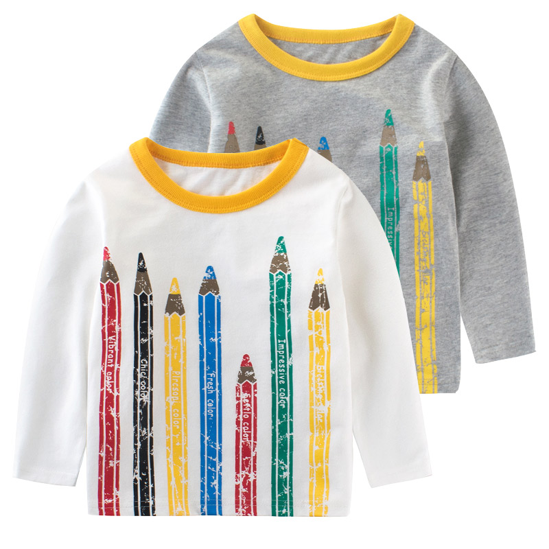 Boys t-shirt Long sleeve girl top baby t shirts kids girls tshirt Pencil funny girls t shirt kid tops shirt Children Clothing voile panel stripe long sleeve t shirt