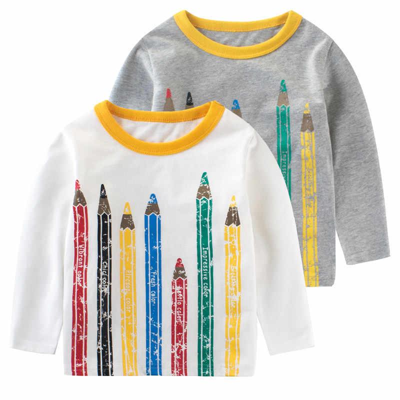 245a14871 Boys t-shirt Long sleeve girl top baby t shirts kids girls tshirt Pencil  funny