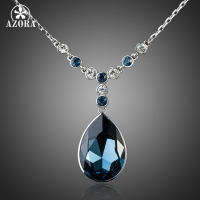 Platinum Plated Big Irregular Shape Ink Blue SWA ELEMENTS Austrian Crystal Pendant Jewelry Necklace FREE SHIPPING