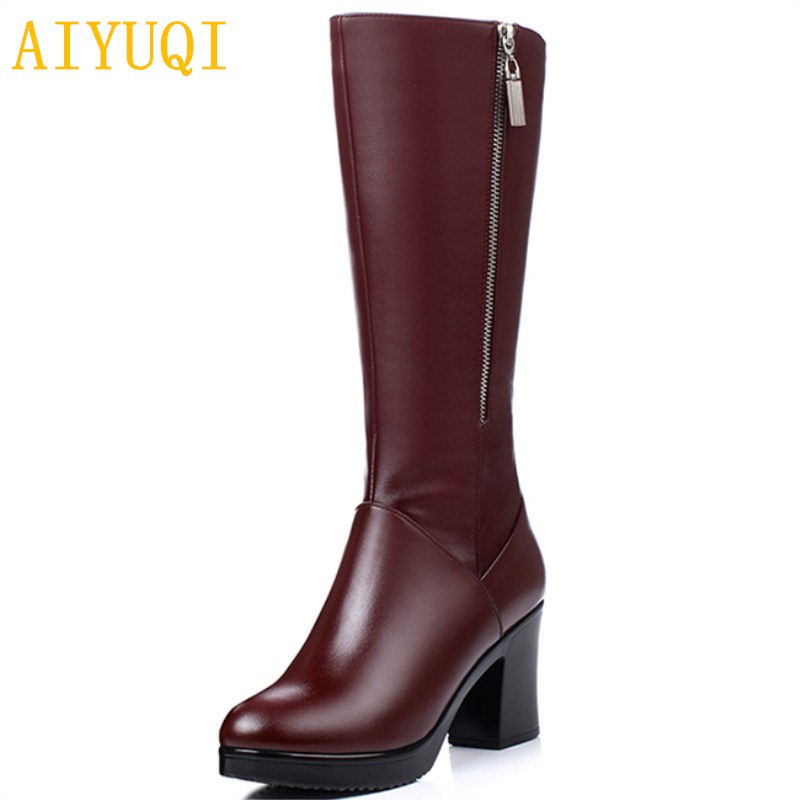 AIYUQI 2019 new genuine leather high boots for women Fashion red winter women s heeled boots