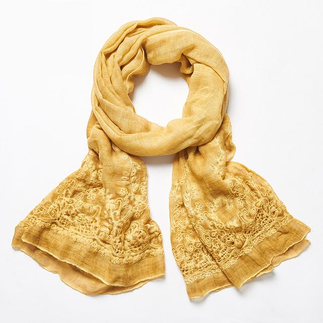 Único Cobertor Linho Lenço Lenços de Algodão Das Mulheres Estilo Étnico Bordado Floral Camisa Hijab Echarpes Foulard Femme Lenço Amarelo