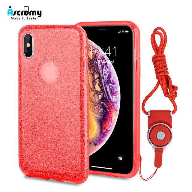 detailed look c0295 83b80 US $2.72 9% OFF Ascromy For iPhone 7 Plus Case with Shoulder Strap Luxury  Bling Cover Phone Case For iPhone 8 X XS Max XR 6 6S XSmax Girls Women-in  ...