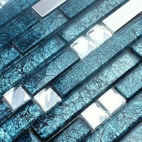 Blue Color Long And Short Strip Gl Mixed Stainless Steel Mosaic Tiles For Wall Kitchen
