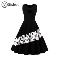 Sishot Women Retro Dress 2017 Summer Sleeveless Black A Line Stars O Neck Knee Length White