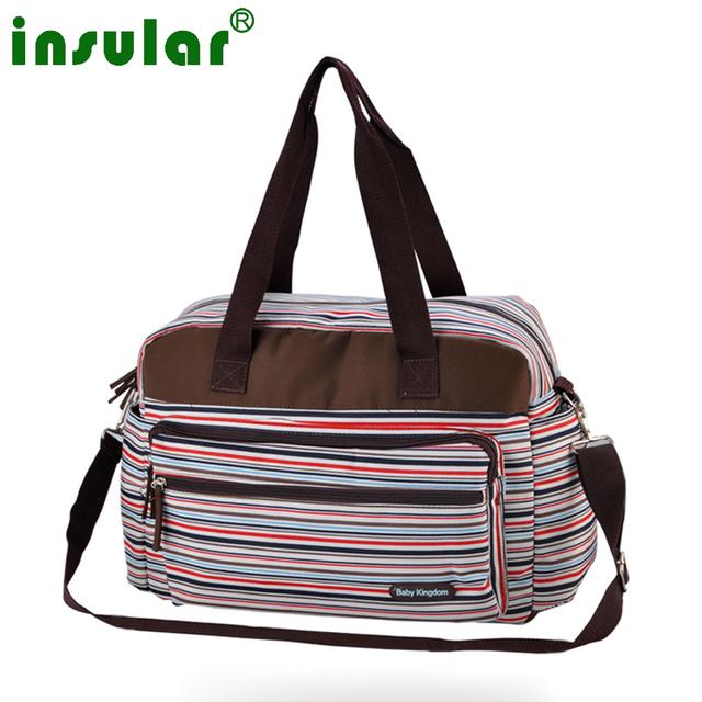 Multicolor de la raya de maternidad la madre de la momia bolsas de pañales multifuncional cochecito bolsas bolso de hombro del bebé bolsa de pañales