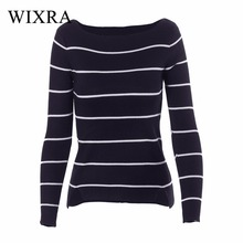 Wixra Warm and Charm Knitted Sweater Pullover Women 2017 Autumn Jumpers Striped Sweater Shirt Knitwear Pullovers Female Tops