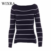Wixra Warm And Charm Knitted Sweater Pullover Women 2017 Autumn Jumpers Striped Sweater Shirt Knitwear Pullovers