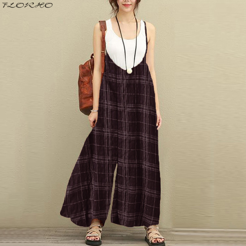 Summer Plus Size Women Overalls Wide Leg Pants Lattice Braces Dungarees Rompers Cotton Trousers Loose Jumpsuits