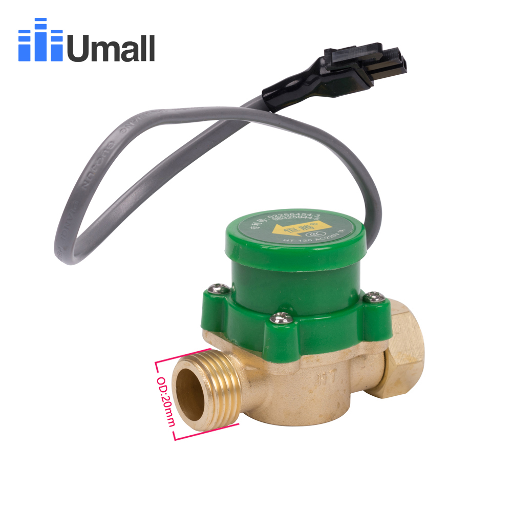 HT120 Male Female Thread G1/2 20MM Water Flow Sensor Switch Pressure Control Protect Waterproof Micro Magnetic Brass Valve Parts