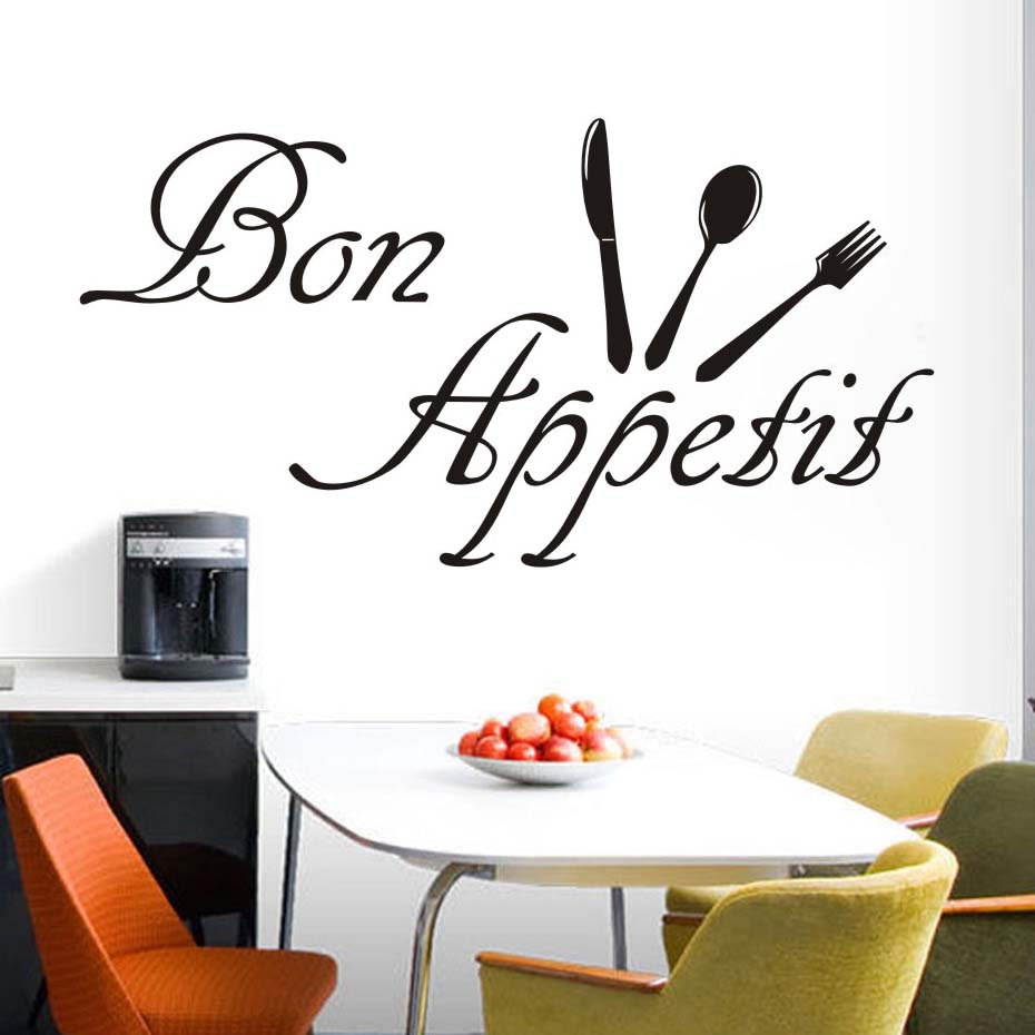French Bon Appetit Eating Food Tools Wall Sticker Waterproof Art Vinyl Decals Restaurant Kitchen Dining Room Wall Decor