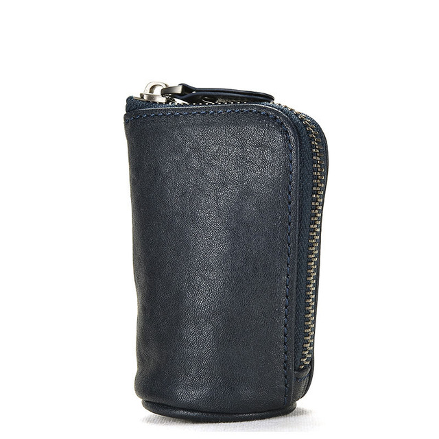 Difenise Unisex First layer cowhide Genuine leather Handmade Car Key wallets Fashion and Vintage Barrel-shaped with Gift Box