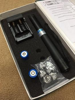 450nm High Power 50000m Blue Laser Pointer Lazer Pen Light Adjustable Focus Burning Match With Charger 5 stars Caps Paper Box
