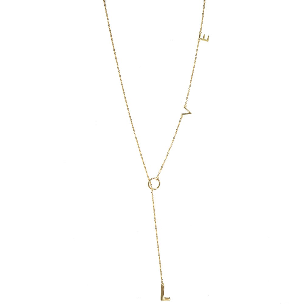 Lariat Love Necklace Gold...