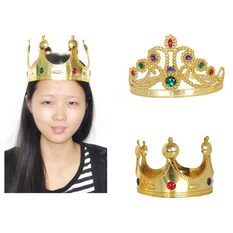 1 шт., детский головной убор принцессы с драгоценными камнями, корона для взрослых, королева, король, для сцены, реквизит для косплея, вечерние платья, ободок для дня рождения для девочек
