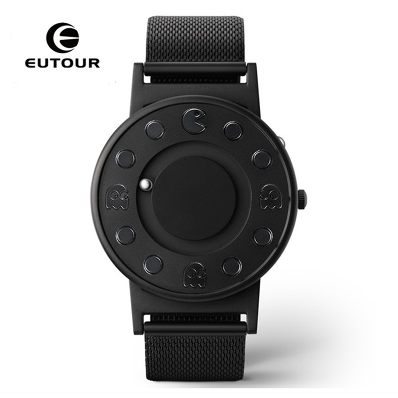 2018 EUTOUR Magnetic Watch Men Luxury Waterproof Sport Watches Men's Quartz Wrist Black Watch Male Clock relogio masculino eutour luxury brand men stainless steel gold watch men s quartz clock man sports magnetic force wrist watches relogio masculino