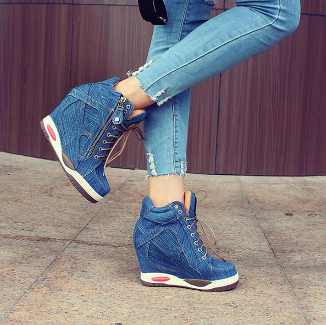 Women's Comfortable Summer Denim Wedge Heel Sneaker
