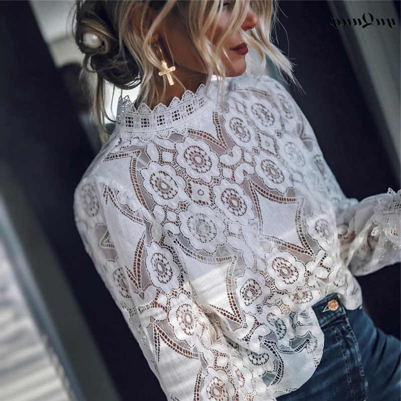 yuqung summer Lace Women Short shirt and blouse mesh embroidery crop Tops Ruffled Shirt Party Tops Festival holiday Blouse 2D63