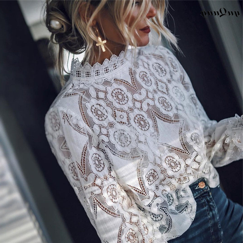 Yuqung Summer Lace Women Short Shirt And Blouse Mesh Embroidery Crop Tops Ruffled Shirt Party Tops Festival Holiday Blouse 2d63 Women's Clothing