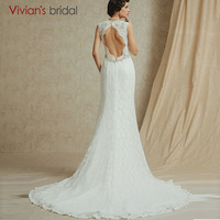 V Neck Lace Mermaid Backless Wedding Dress With Court Train Sleeveless Ivory Bridal Gown Robe De