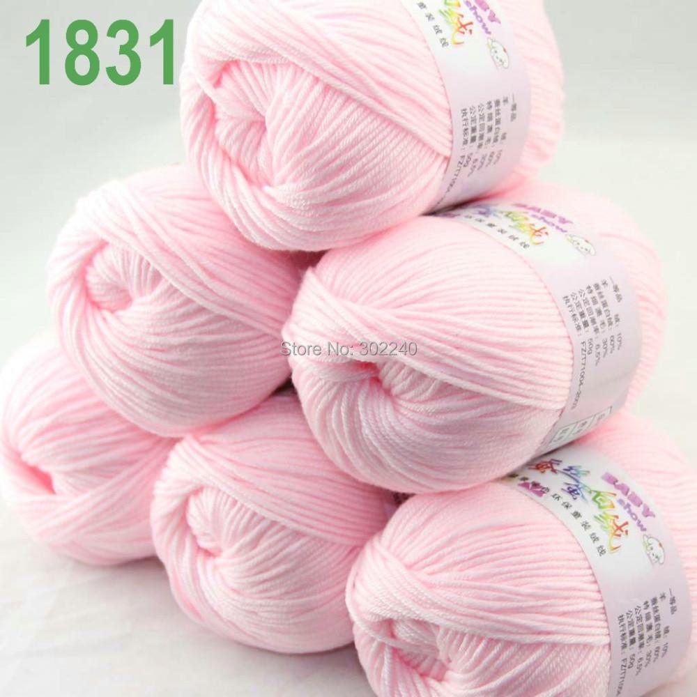 Spousta 6 kuliček x 50g Kašmírový hedvábný samet Ručně pletená příze Baby pink 1831