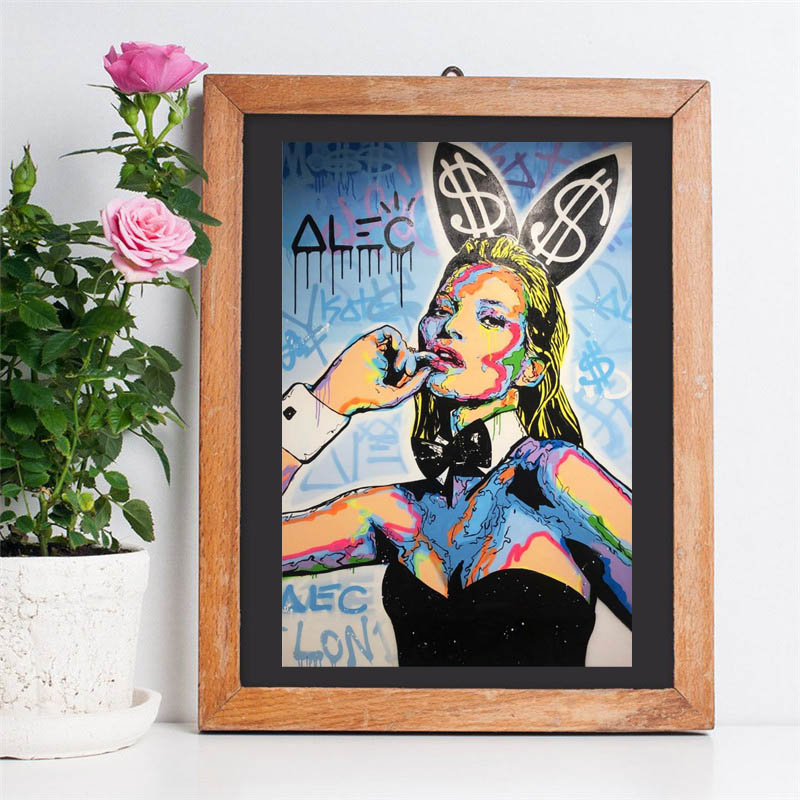 Kate Moss Playboyes ICON By Alec Monopolies Wall Art Canvas Posters Prints