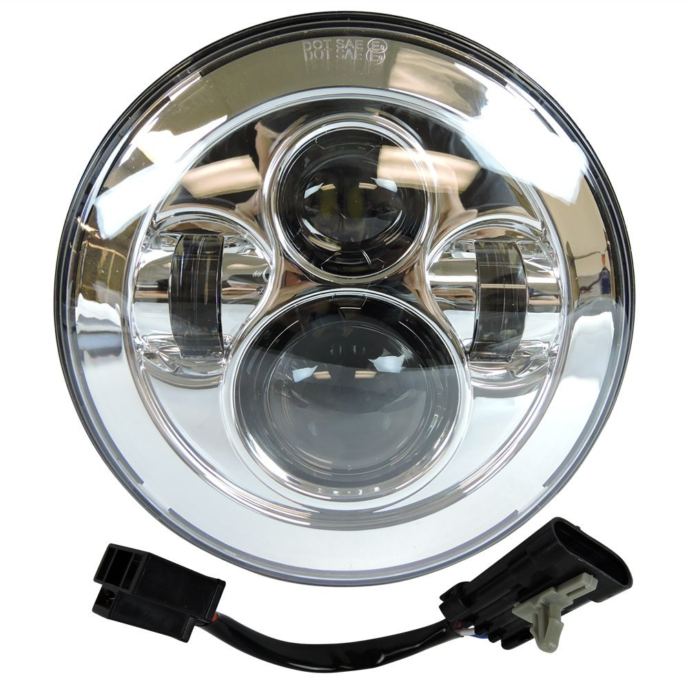 7 led chrome round moto projector headlight harley street glide softail flhx f wire harness for 2014 2015 2016 harley [ 1000 x 1000 Pixel ]