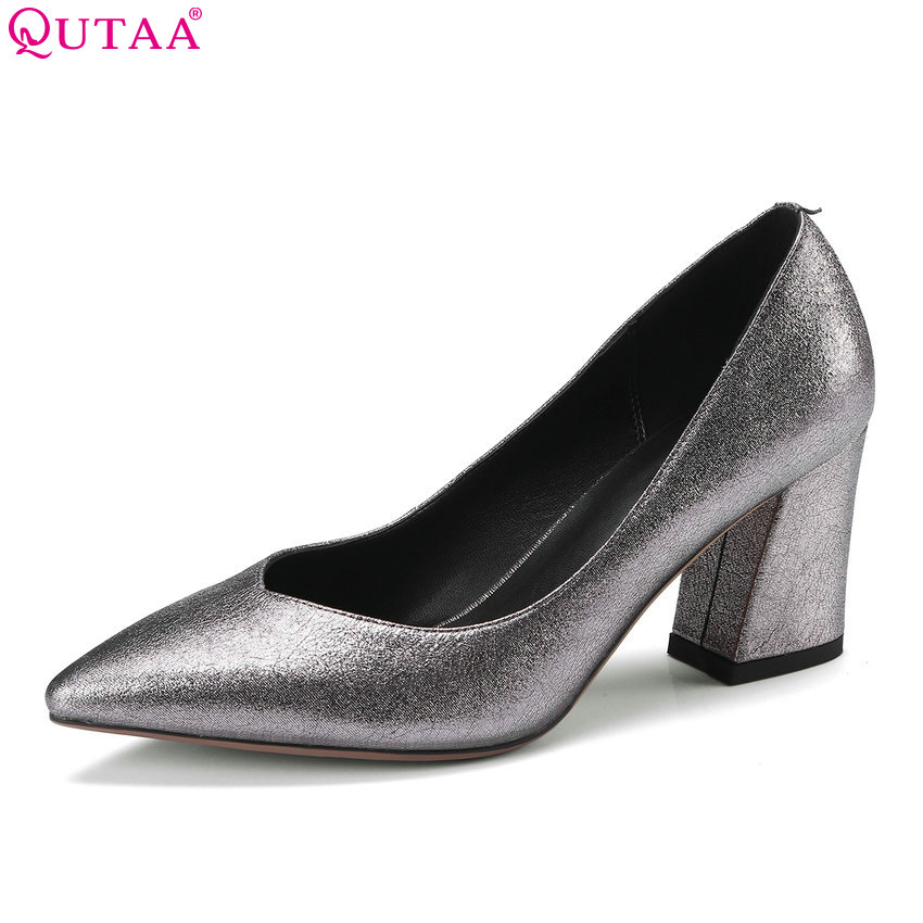 QUTAA 2018 Women Pumps Square High Heel Casual Fashion Women Shoes Slip on Pointed Toe Westrn Style Weding Shoes Size 34-42 xiaying smile summer women sandals casual fashion lady square heel slip on flock shoes pointed toe cover heel lace bowtie shoes page 1