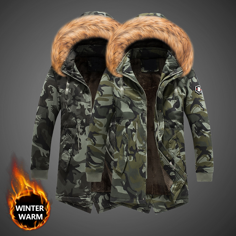 Fashion Winter Jacket Men Camouflage Military Velvet Thick Parka Men Fur Collar Long Trench Coat Outwear Windbreaker Warm Jacket
