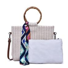 2019 Knitted Shoulder Bag Summer Straw Silk Scarf Beach Tote Bags for Women Handbag Bow Ladies Hand Bags Luxury Bag Bolsa Female все цены