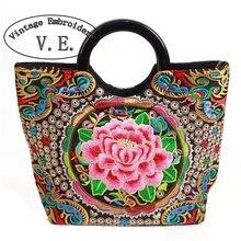 hot deal buy vintage embroidery womens handbag fashion canvas flower embroidered boho totes bolsas de luxo mulheres sacos de designer couro