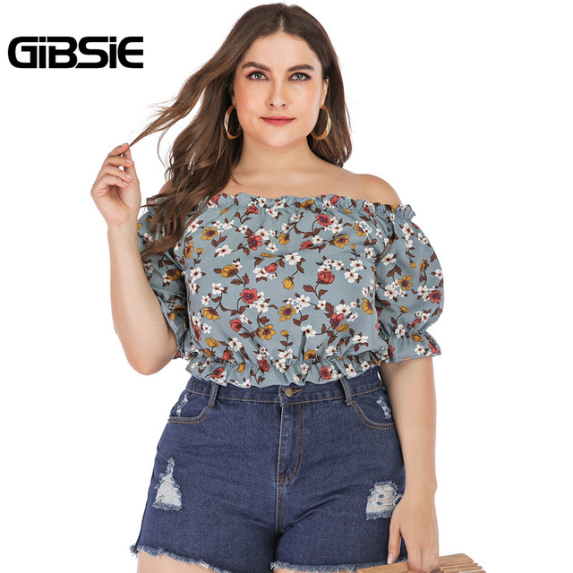 GIBSIE Plus Size Floral Print Boho Off Shoulder Ruched Crop Top Blouse 2019 Summer Holiday Casual Womens Tops and Blouses 3
