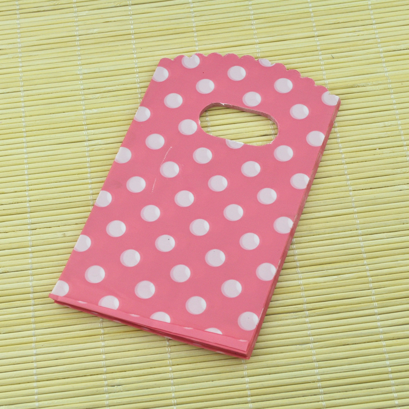100pcs 9x15cm Small Plastic Gift Bags Plastic Pouches For Jewelry Boutique Gift Pink Dots Cut Handle Bags
