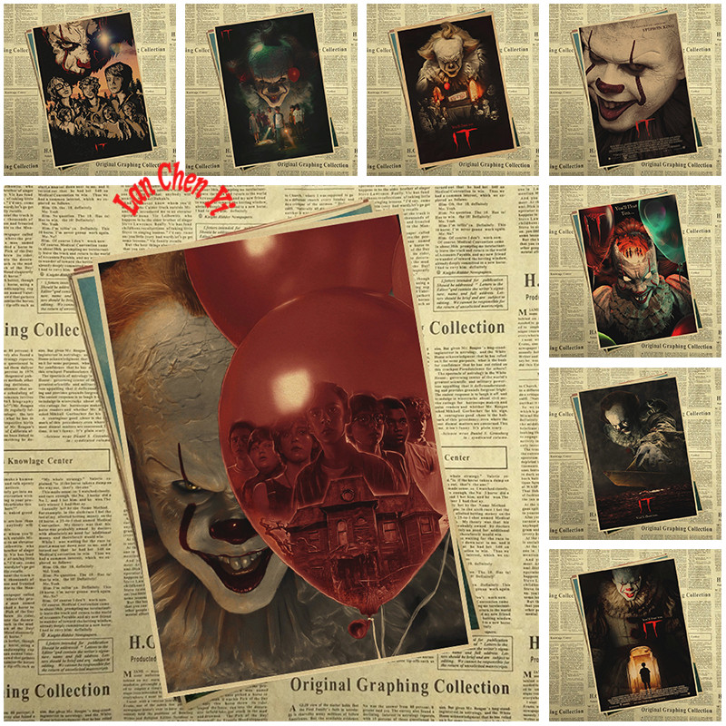 Stephen King's It Kraft Paper Poster Home Furnishing decoration Kraft Classic horror Movie Poster Drawing core Wall stickers
