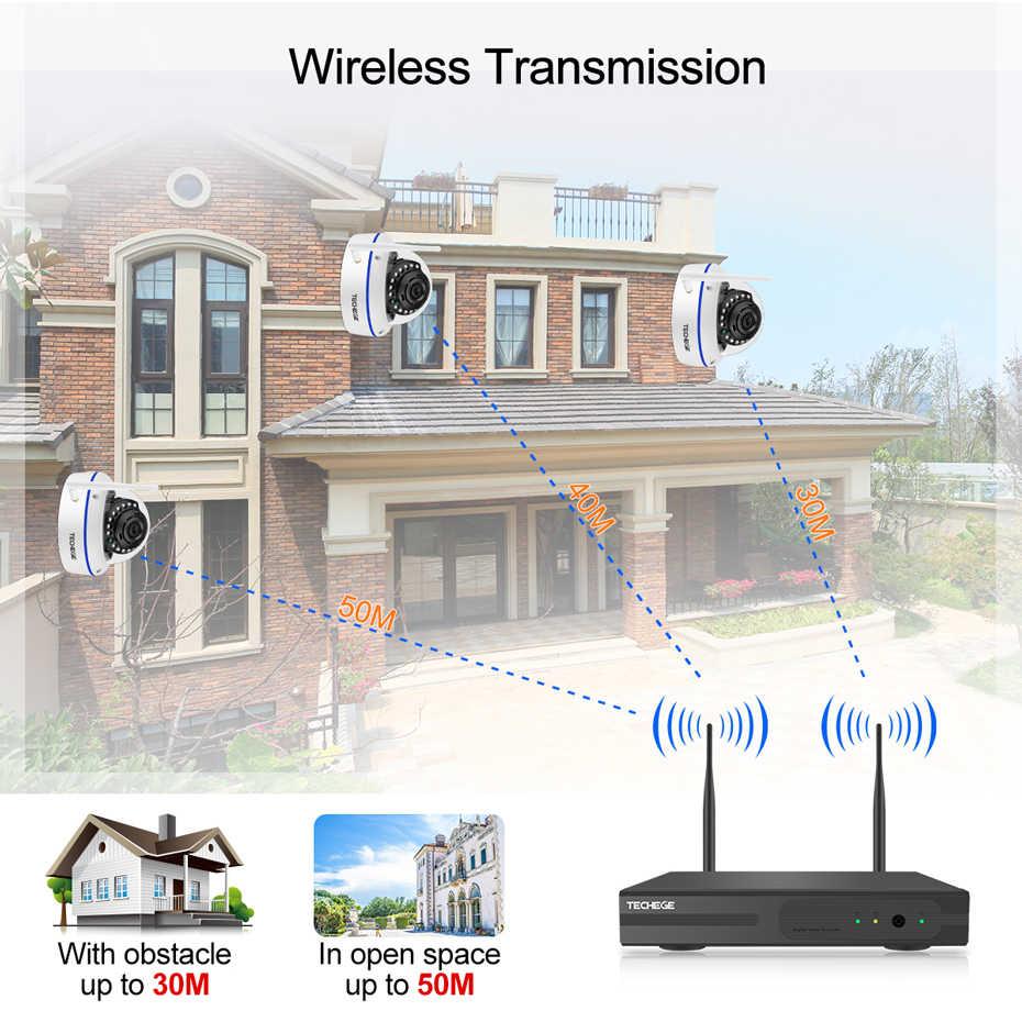 Techege Plug and Play 4CH bezprzewodowy zestaw monitoringu NVR 12 cal LCD NVR 1080P HD odporność na akty wandalizmu kamera IP noktowizor WIFI system cctv