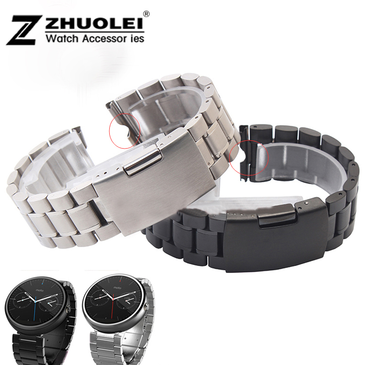22mm black silver New Mens Stainless Steel Watchbands Bracelet for Moto 360 Smart Watch Band Moto360 men's watch bracelet 20mm watchband stainless steel smart watch band strap bracelet for motorola moto 360 2 2nd gen 2015 42mm smartwatch black silver