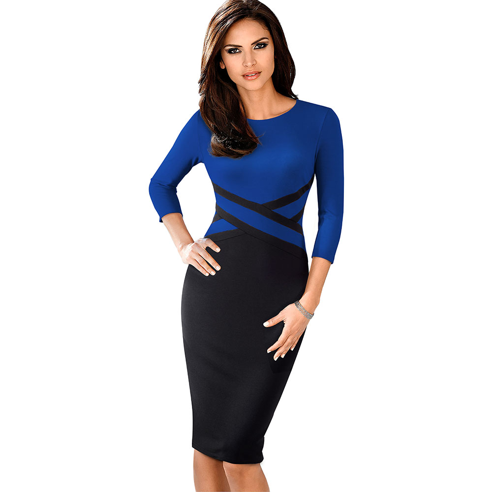 Nice-forever Vintage Elegant Contrast Color Patchwork Wear to Work vestidos Business Party Office Women Bodycon Dress B463 26