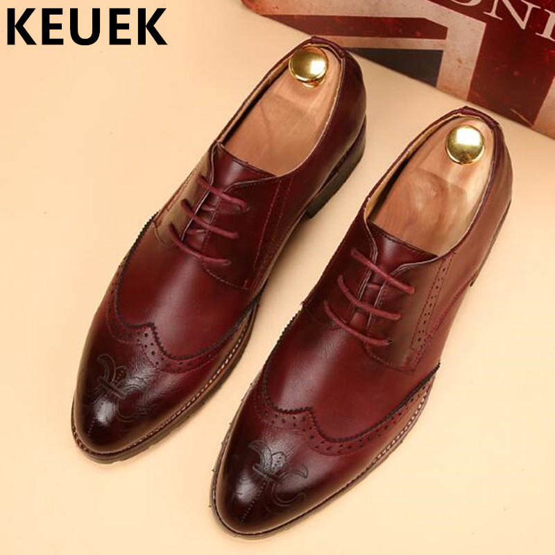 Fashion British style Men Brogue Shoes Autumn Lace-Up Oxfords shoes Male Flats 022 oxfords male round toe lace up men black and white dress shoes big size flats british style brogue wingtip fashion spring