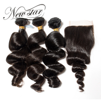 New Star Loose Wave Brazilian Human Hair Extension 3 Bundles With 4x4 Closure Free Style Virgin Hair Weaving Bundles
